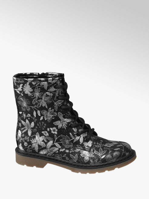 Graceland Zwarte veterboot bloemenprint