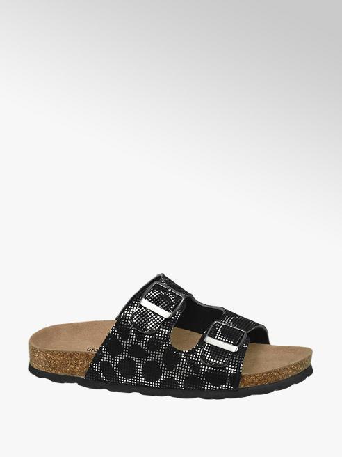 Graceland Zwart/zilveren slipper leren voetbed