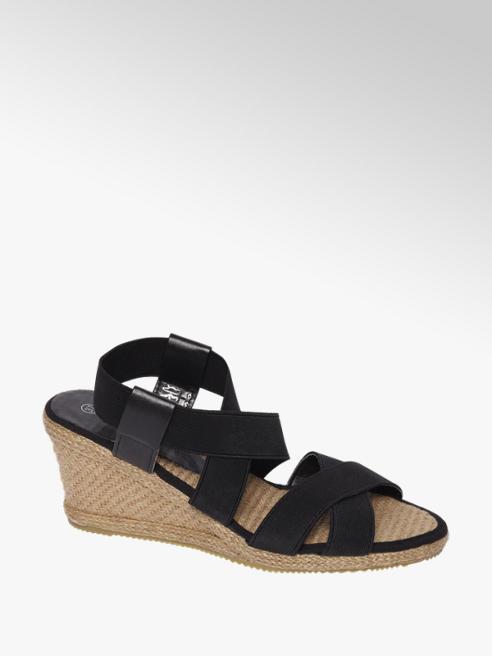 Graceland Zwarte sandalette elastiek