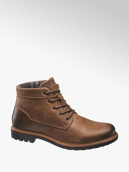 AM SHOE Hnědá kožená kotníková obuv AM Shoe