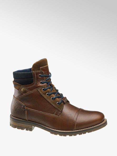 Venture by Camp David Hnědá kožená kotníková obuv Venture by Camp David se zipem