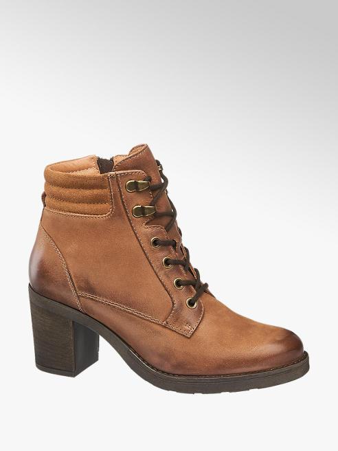 5th Avenue Hnědá kožená šněrovací obuv 5th Avenue se zipem