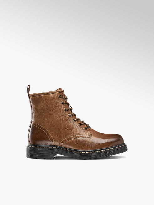 5th Avenue Hnědá kožená obuv na šněrování se zipem 5th Avenue