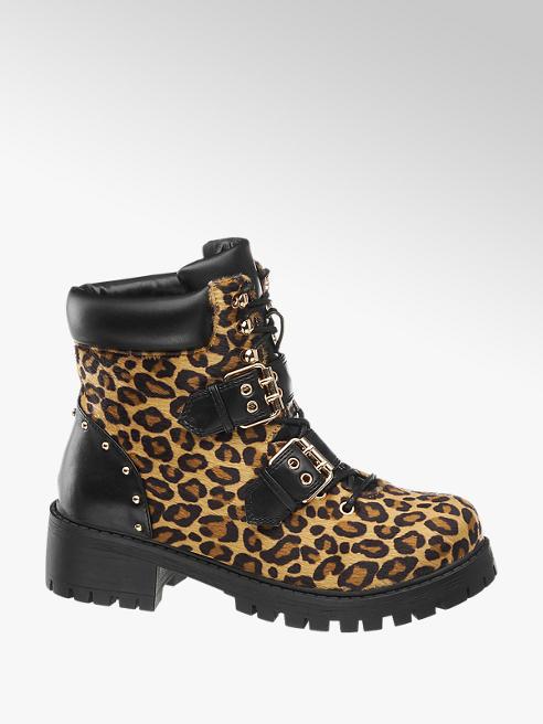 Vero Moda Hnědá šněrovací obuv Vero Moda se zvířecím vzorem
