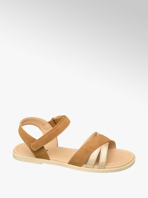 Graceland Hnědé sandály Graceland na suchý zip