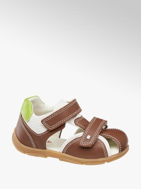 Elefanten Hnedé detské kožené sandále na suchý zips Elefanten
