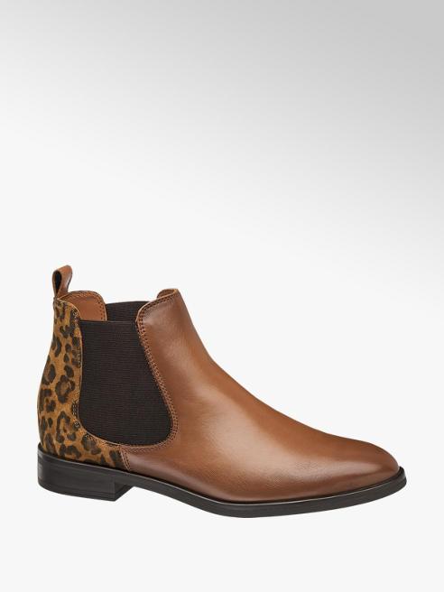 5th Avenue Hnedá kožená Chelsea obuv so zvieracím vzorom 5th Avenue