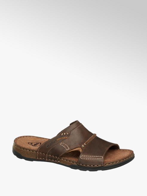 Gallus Hnedé kožené komfortné šľapky Gallus