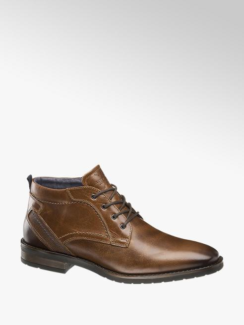 AM SHOE Hnedá kožená členková obuv AM SHOE
