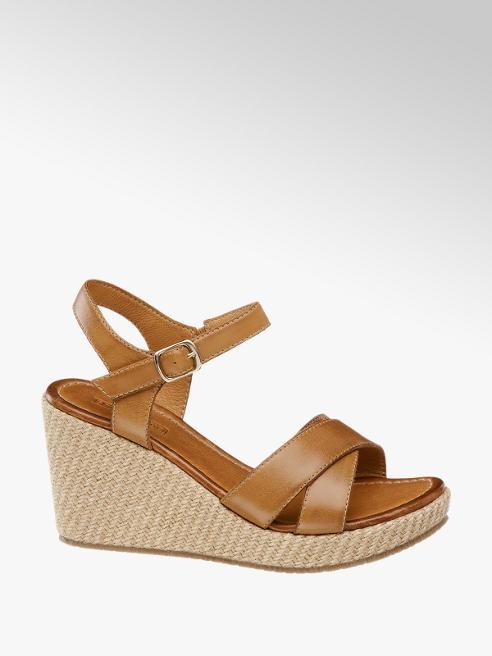 5th Avenue Hnedé kožené sandále na klinovom podpätku 5th Avenue