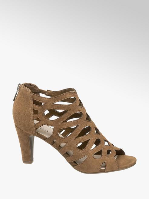 5th Avenue Hnedé kožené sandále na podpätku 5th Avenue