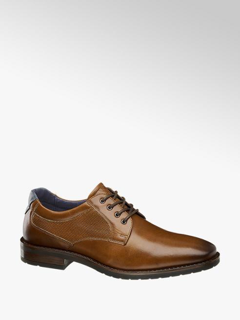 AM SHOE Hnedá kožená spoločenská obuv AM SHOE
