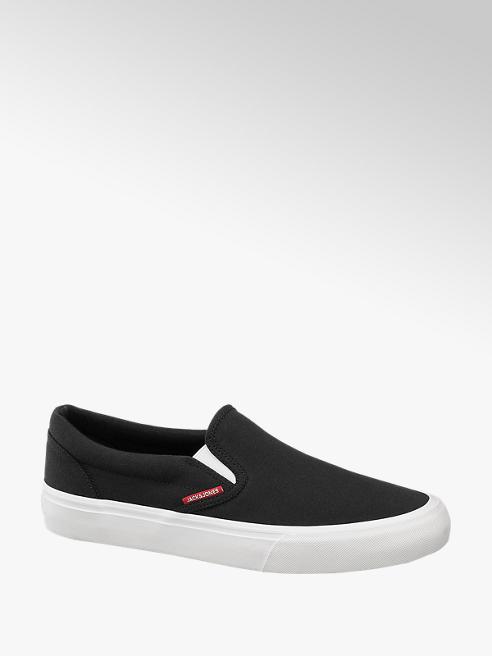 Jack + Jones Slip On Leinen Sneaker in Schwarz