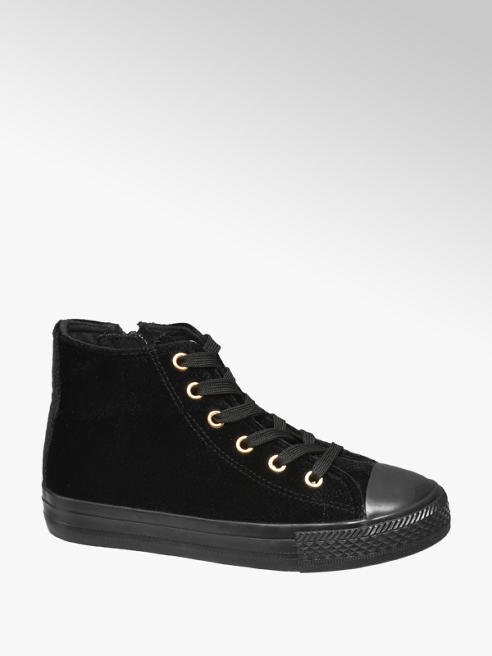 Graceland Junior Girls Black Lace-up Velvet Hi-tops
