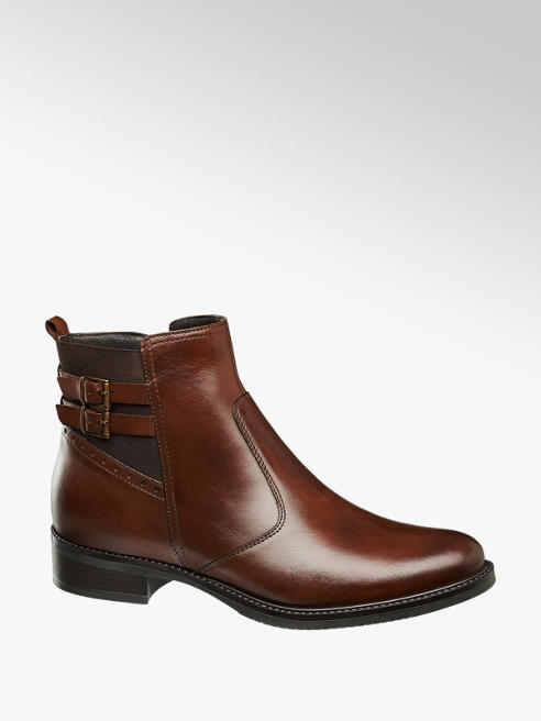 5th Avenue Kastanje leren chelsea boot siergesp