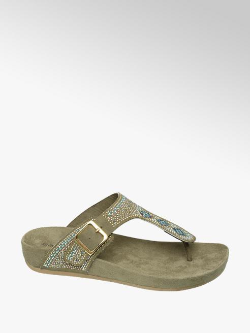 Graceland Keki színű lábujjközi papucs