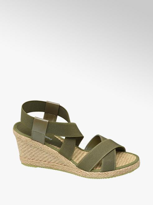 Graceland Khaki sandály na klínku Graceland