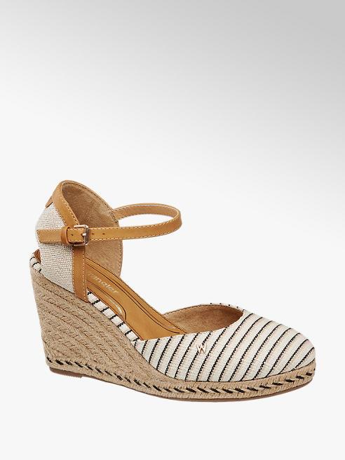 Wrangler Krémově hnědé plátěné sandály na klínku Wrangler