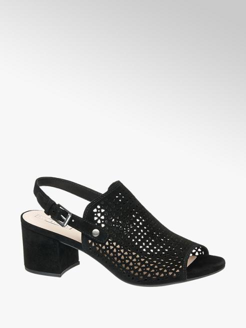 5th Avenue Black Chunky Laser Cut Heeled Sandal
