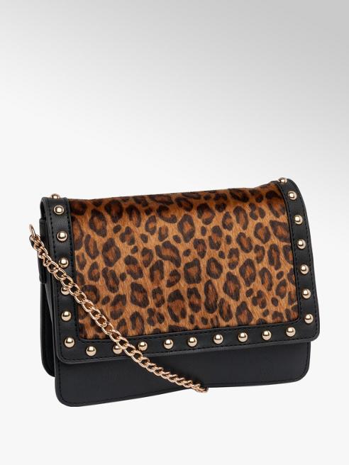 Black Leopard Print Cross Body Bag