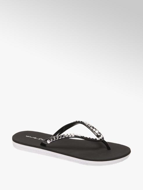 Blue Fin Ladies Diamonte Black Flip Flop
