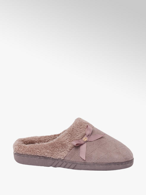 Ladies Bow Trim Mule Slippers