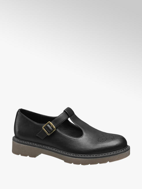 Graceland Ladies Black Chunky T-Bar Shoes