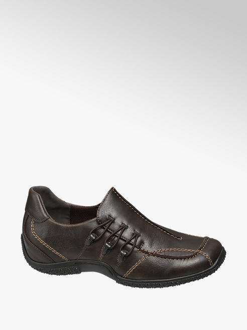 Easy Street Brown Contrast Stitch Smart shoes