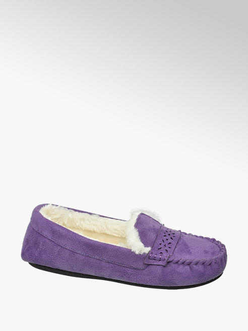 Ladies Purple Moccasin Slipper