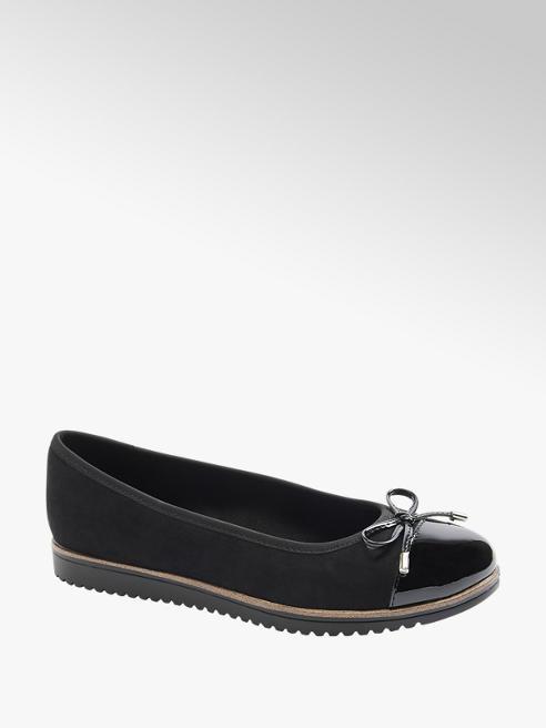 Graceland Black Patent Toe Ballerinas