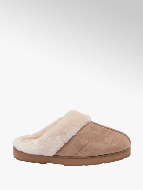 Ladies Plush Collar Mule Slippers