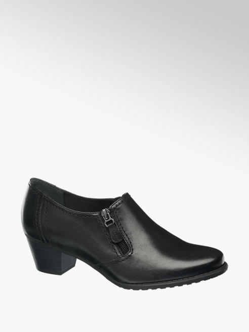 Medicus Black Leather Heeled Comfort Shoes