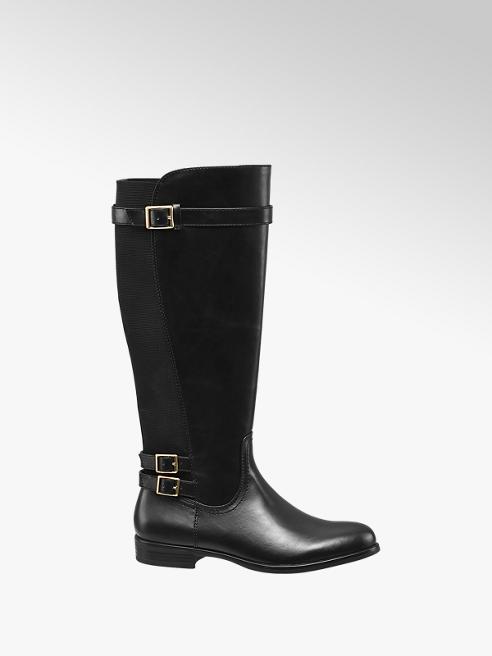 Graceland Black Elasticated Long Leg Boots