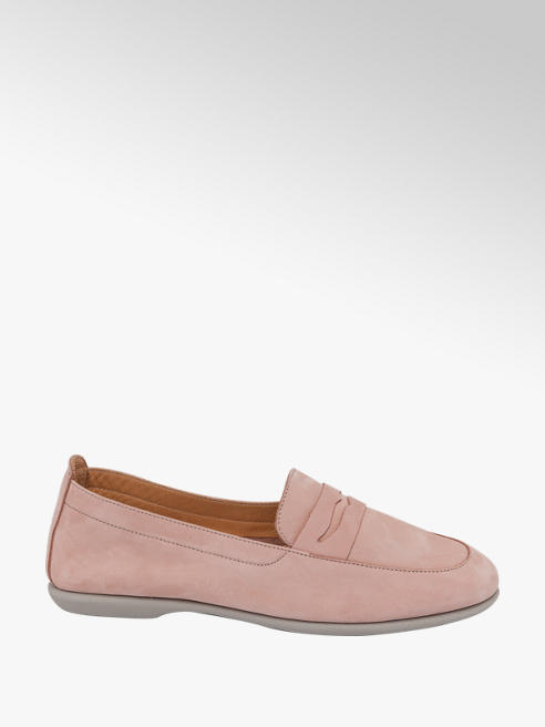 Ladies Pink Leather Slip On Loafers