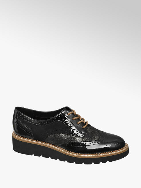 Graceland Zwarte lak dandy veterschoen brogue