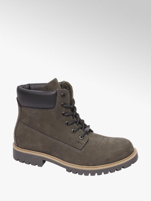 Landrover Grijze nubuck boot vetersluiting