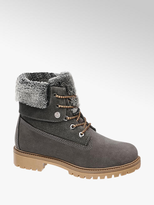 Landrover Grey Leather Lace Up Ankle Boots