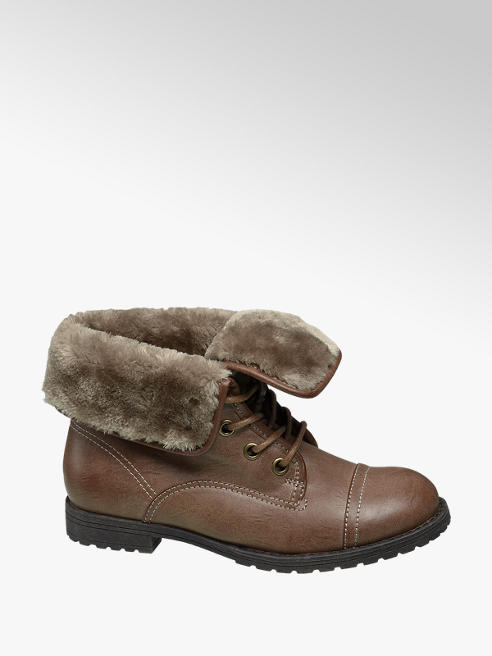 Landrover Tan Fur Top Ankle Boots