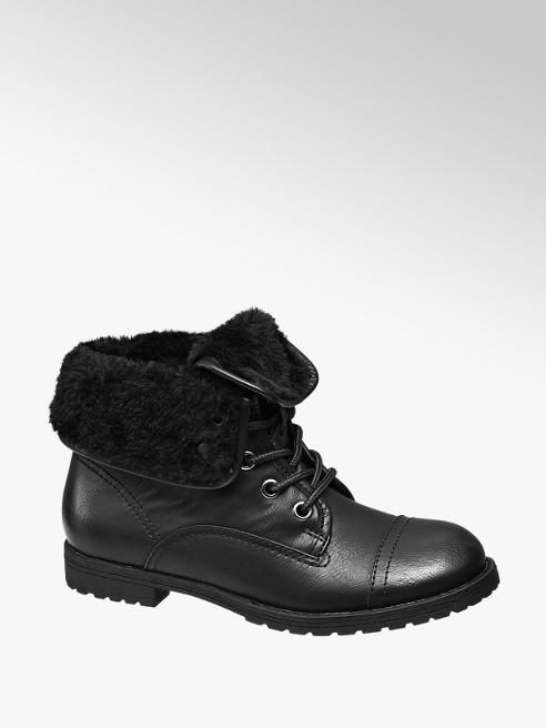 Landrover Black Fur Turnover Collar Ankle Boots