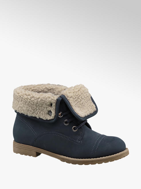 Landrover Navy Fleece Lined Ankle Boots