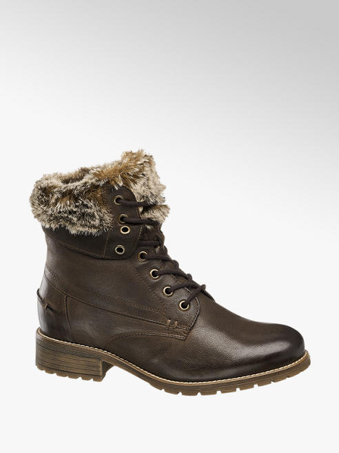 Landrover Brown Fur Top Lace-up Ankle Boots