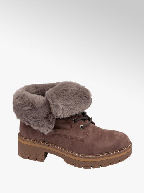Landrover Taupe Fur Lined Ankle Boots
