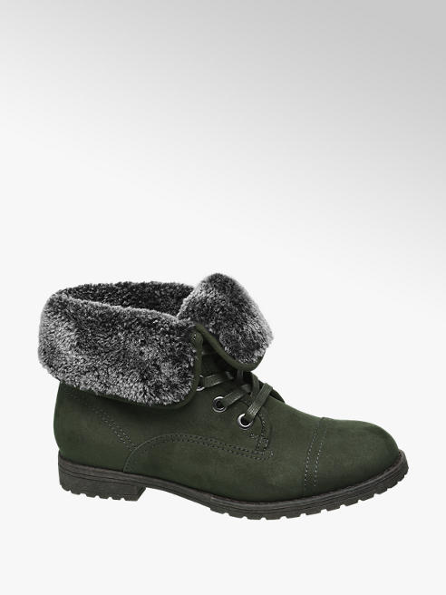 Landrover Khaki Fur Top Ankle Boots