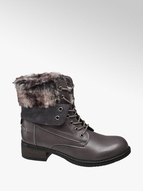 Landrover Grey Fur Top Lace-up Ankle Boot