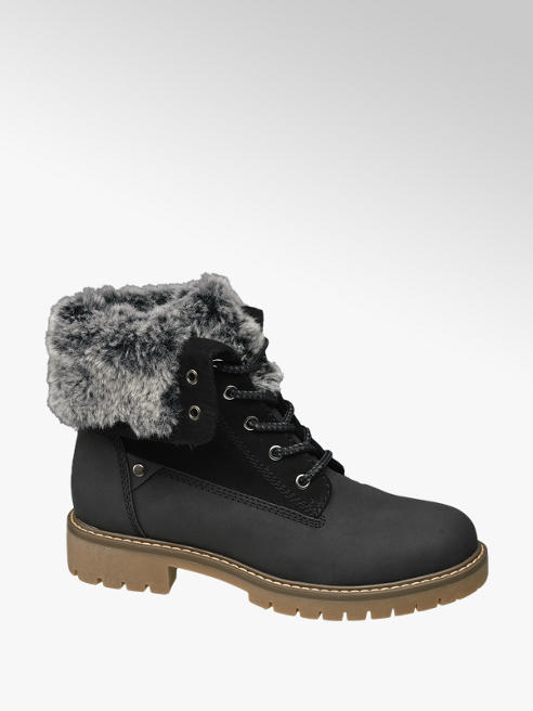 Landrover Black Fur Top Lace-up Ankle Boots Boot