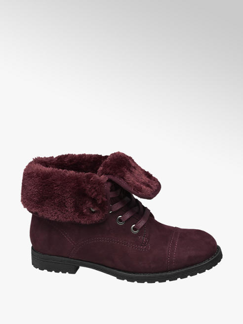 Landrover Red Fur Top Ankle Boots