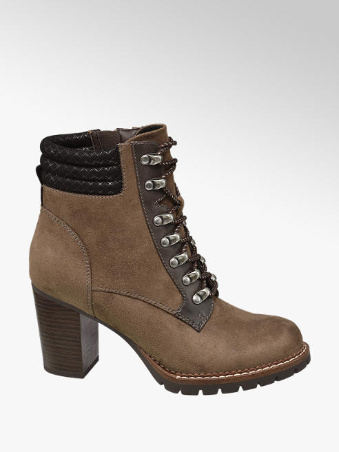 Landrover Khaki Heeled Lace-up Ankle Boots