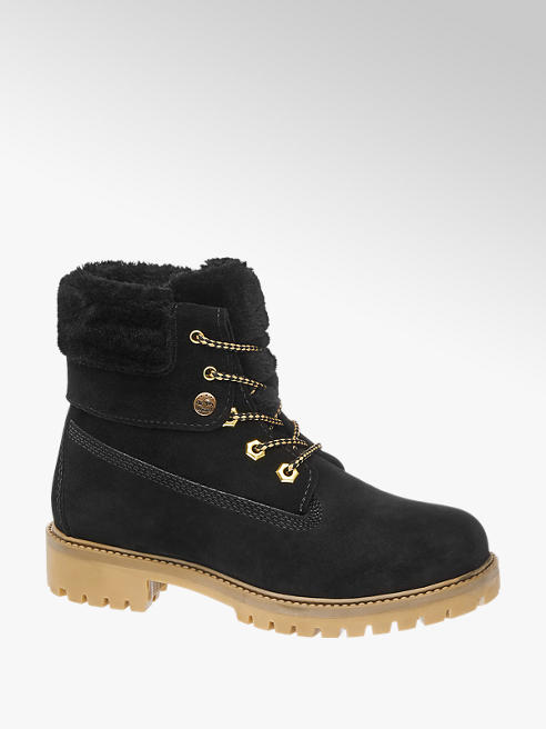Landrover Black Leather Lace-Up Ankle Boots