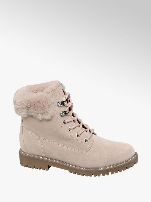 Landrover Light Pink Leather Fur Top Ankle Boots