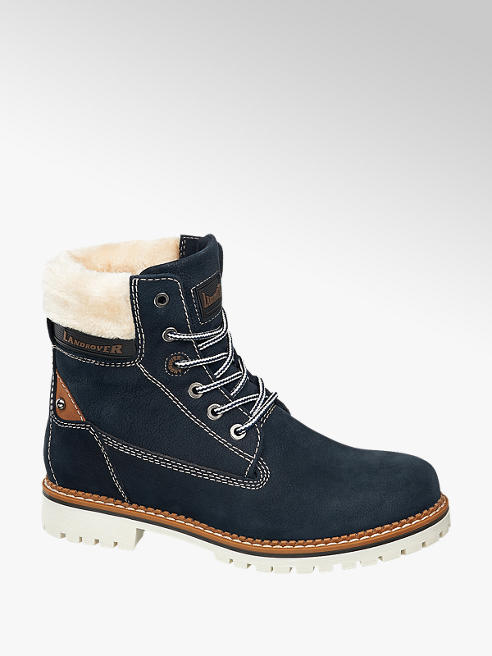 Landrover Navy Leather Lace-up Ankle Boots